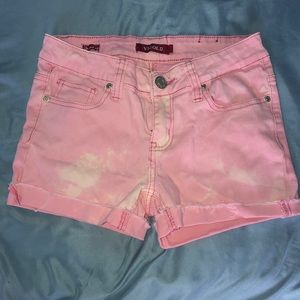 Pink bleached shorts